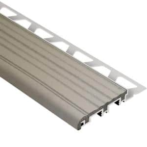 Trep-B Aluminum with Grey Insert 1 in. x 8 ft. 2-1/2 in. Metal Stair Nose Tile Edging Trim