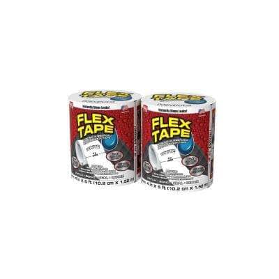 Flex Tape 4 in. x 5 ft. Strong Rubberized Waterproof Tape in White (2-Pack)