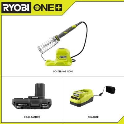 ONE+ 18V Cordless 40-Watt Soldering Iron with 2.0 Ah Battery and Charger