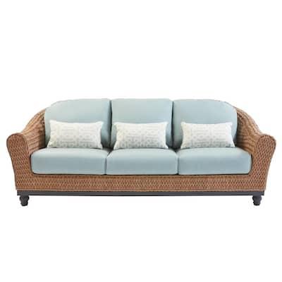 Camden Light Brown Seagrass Wicker Outdoor Patio Sofa with Sunbrella Cast Spa & Fretwork Mist Cushions
