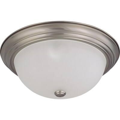 3-Light Flush-Mount Brushed Nickel Dome Light Fixture