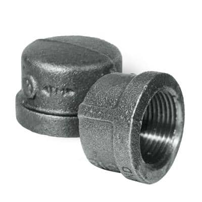 3/4 in. x 1 in. L Black Malleable Iron Pipe Cap Threaded Fitting 150 lbs. Application (10-Pack)