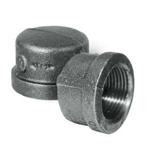 3/8 in. L Black Malleable Iron Pipe Cap, Threaded Fitting 150 lbs. Application (10-Pack)