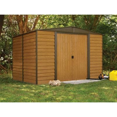 Woodridge 10 ft. W x 8 ft. D Wood-grain Galvanized Metal Storage Building
