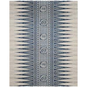 Evoke Ivory/Blue 9 ft. x 12 ft. Geometric Area Rug