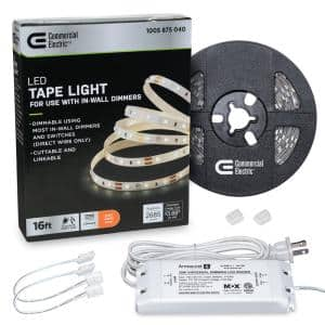 16 ft. LED AC Dimmable White Tape Light Kit Under Cabinet Light