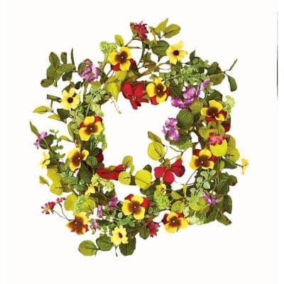 22 in. Mxd Multi-Color Wreath with Pansy