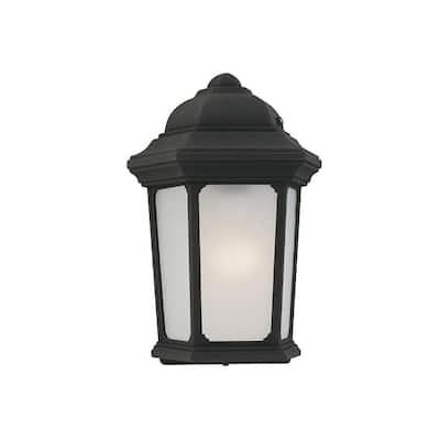 40-Watt Equivalent Black Outdoor Integrated LED Wall Lantern