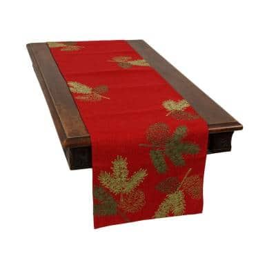 0.1 in. H x 15 in. W x 108 in. D Christmas Pine Tree Branches Embroidered Double Layer Table Runner