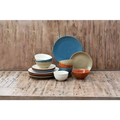 Brooklyn Rock Creek 16-Piece Multi Casual Mixed Stoneware Dinnerware Set (Service for 4)