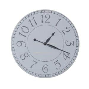 30 in. Oversized Weathered Gray Farmhouse Wall Clock