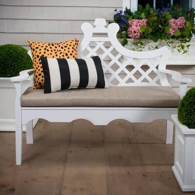 Tuxedo Stripe Black Rectangular Lumbar Outdoor Pillow