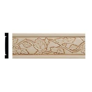 986 11/32 in. x 2-1/2 in. x 96 in. White Hardwood Embossed Wild Roses Chair Rail Moulding