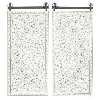 Decorative Carved Floral-Patterned MDF Wood Wall Art (Set of 2)