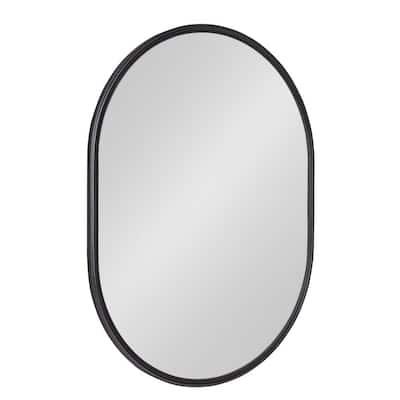 Medium Oval Black Modern Mirror (24 in. H x 18 in. W)