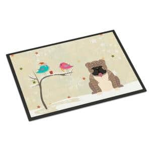 24 in. x 36 in. Indoor/Outdoor Christmas Presents between Friends English Bulldog Grey Brindle Door Mat