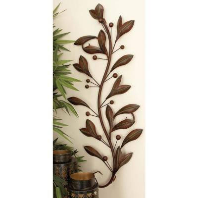 14 in. x 36 in. New Traditional Brown Iron Leaves and Scrollwork Wall Decor