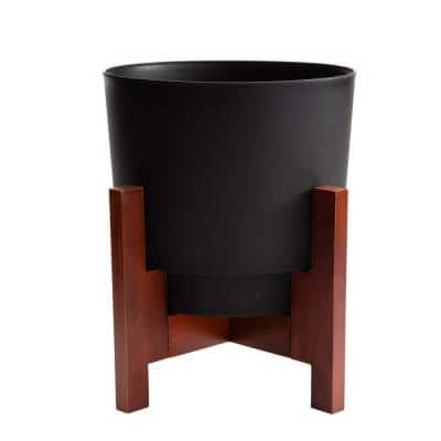 Hopson Medium 14 in. Black Plastic Planter with Wood Stand
