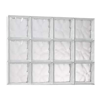 31 in. x 17.25 in. x 3.125 in. Wave Pattern Solid Glass Block Masonry Window