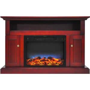 Kingsford 47 in. Electric Fireplace with Multi-Color LED Insert and Entertainment Stand in Cherry