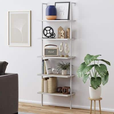 Theo Gray Oak 5-Shelf Ladder Bookcase or Bookshelf with White Metal Frame