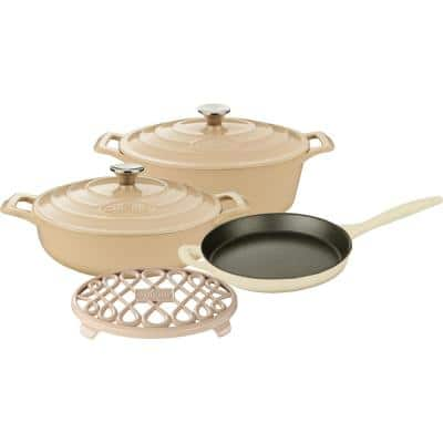 PRO Range 6-Piece Cast Iron Cookware Set in Cream