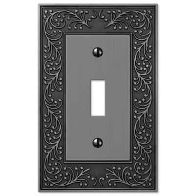 English Garden 1 Gang Toggle Metal Wall Plate - Antique Nickel