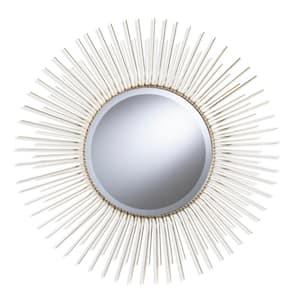Ector 32.5 in. x 32.5 in. Midcentury Modern Round Framed Oversized Sunburst Wall Mirror