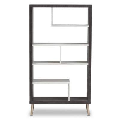 56.14 in. Dark Brown/Light Gray Wood 7-shelf Etagere Bookcase with Open Back