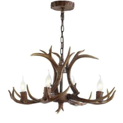 Eldora 26 in. Adjustable Resin Antler 4-Light Brown LED Chandelier