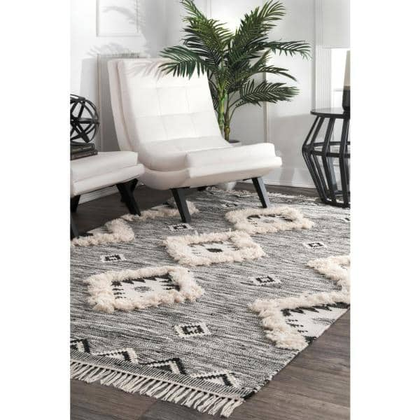 Nuloom Savannah Moroccan Fringe Black 9 Ft X 12 Ft Area Rug Spmo01a 860116 The Home Depot