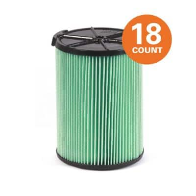5-Layer HEPA Media Pleated Paper Filter for Most 5 Gal. and Larger Wet/Dry Shop Vacuums (18-Pack)