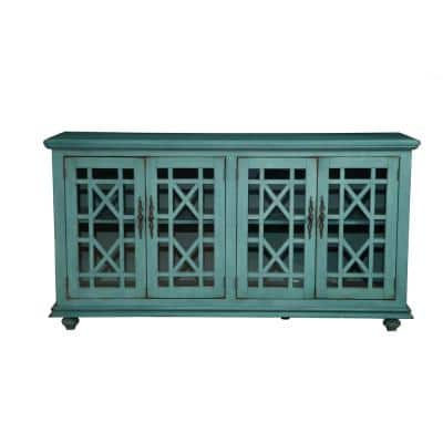 Elegant Teal Glass TV Stand Fits TVs Up to 65 in. with Cable Management