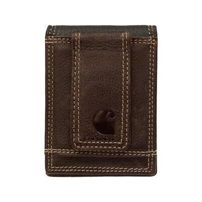 Mens Leather Black/Brown Rugged Front Pocket Wallet