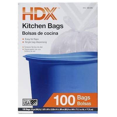 13 Gallon White Flap Tie Kitchen Trash Bags (100-Count)