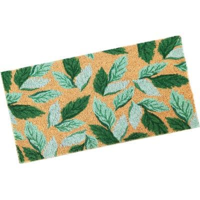 PVC and Coir Doormat - Spring Green Leaves