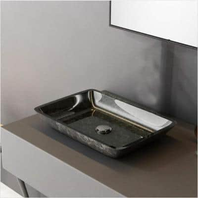Artistic Gray Glass Rectangular Vessel Sink with Pop-Up Drain