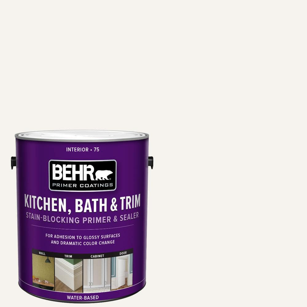 Behr 1 Gal White Acrylic Interior Kitchen Bath And Trim Stain Blocking Primer And Sealer 07501 The Home Depot
