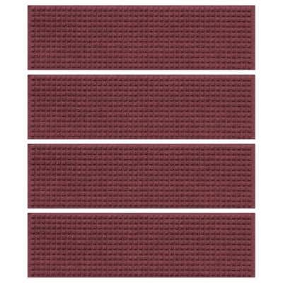 Aqua Shield Squares 8.5 in. x 30 in. Stair Treads (Set of 4) Bordeaux