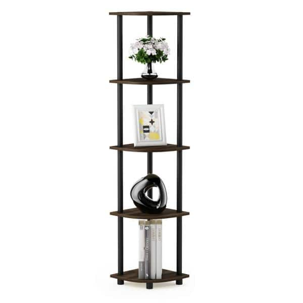 Furinno Turn N Tube Columbia Walnut Black 5 Tier Corner Display Rack Multipurpose Shelving Unit 99811cwn Bk The Home Depot