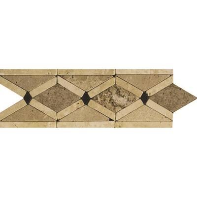 Trav Ancient Tumbled Arctic Listello, Floor 4.33 in. x 12.4 in. Travertine Tile (0.37 sq. ft.)