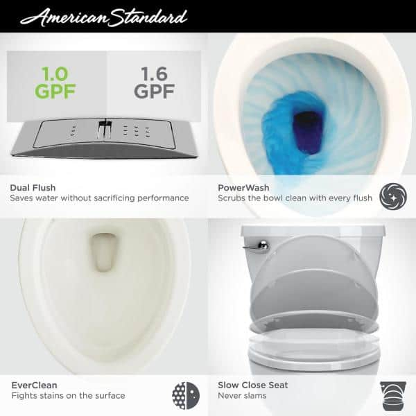 American Standard Cadet 3 Tall Height 2 Piece 1 0 1 6 Gpf Dual Flush Elongated Toilet In White Seat Included 3380 216st 020 The Home Depot