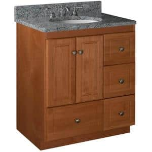 Ultraline 30 in. W x 21 in. D x 34.5 in. H Simplicity Vanity with Right Drawers in Medium Alder