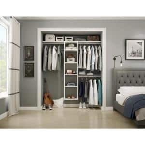 Style+ 17 in. W White Hanging Wood Closet Tower