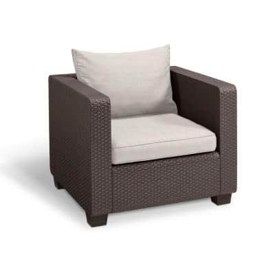 Salta Brown All-Weather Resin Plastic Outdoor Lounge Chair with Canvas Cushions