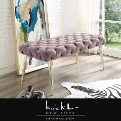 Shannyn Lilac/Gold Velvet Bench with Button Tufted Metal Leg