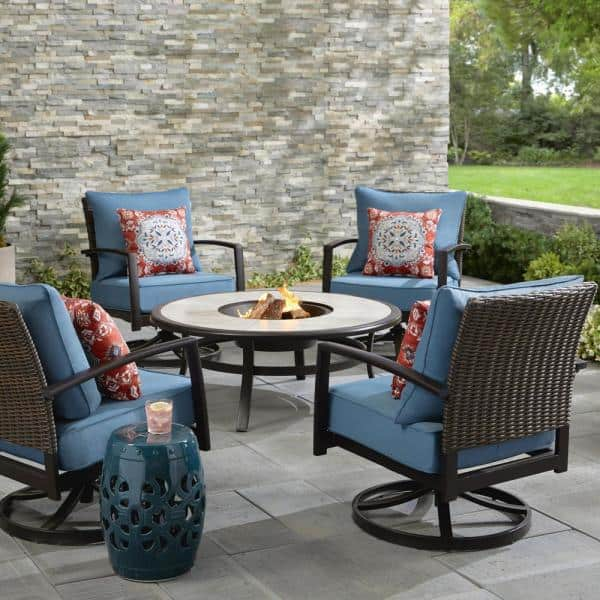 Hampton Bay Whitfield 5 Piece Dark Brown Metal Outdoor Patio Round Fire Pit Seating Set W Cushionguard Steel Blue Cushions 3022 Cm4 The Home Depot