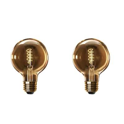 60-Watt Equivalent G40 Dimmable LED Amber Glass Vintage Spiral Filament Edison Light Bulb Warm White (2-Pack)
