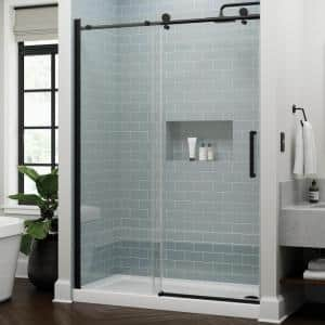 Exuma 60 in. W x 76 in. H Sliding Frameless Shower Door in Matte Black with 3/8 in. (10 mm) Clear Glass