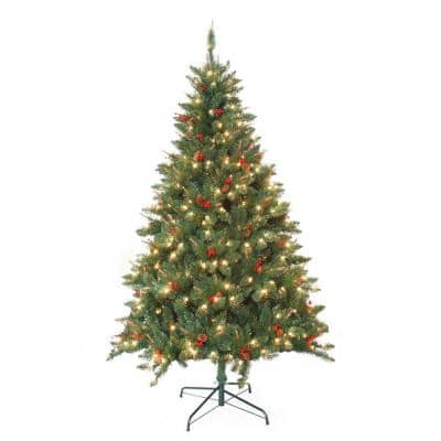 7 ft. Pre-Lit Berrywood Pine Artificial Christmas Tree